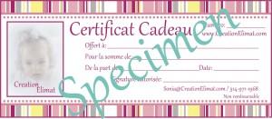 Certificat Cadeau - Specimen